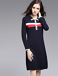 MISS FRENCH  Going out/ Sexy / Simple / Cute Sheath Dress,Solid / Patchwork Shirt Collar Knee-length Long SleeveBlue