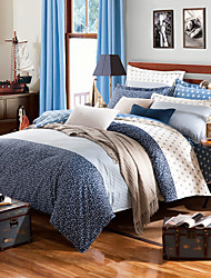 Light blue striped 100% Cotton Bedclothes 4pcs Bedding Set Queen Size Duvet Cover Set