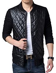 Men's Fashion Slim Stand Collar Diamond Lattice Leather Jacket,PU / Polyester Plaids Black