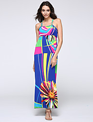 SWEET CURVE Women's Beach Plus Size Dress,Print Strap Midi Sleeveless Multi-color Acrylic Summer