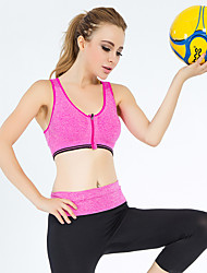 Full Coverage Wireless Front Zip Yoga Sports Bra Shock Treadmill Comfort Stretch Pants Suit