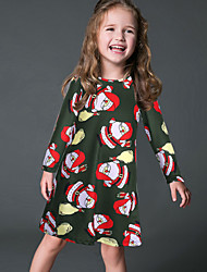 Girl's Party/Cocktail Print DressPolyester Winter / Fall Green