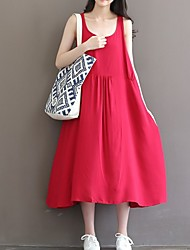 Women's Casual/Daily Vintage Loose Dress,Solid U Neck Midi Sleeveless Red Linen Summer
