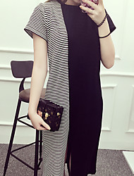 Women's Casual/Daily Simple Tunic Dress,Striped Round Neck Midi Short Sleeve Black Cotton Summer
