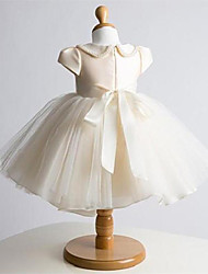 Ball Gown Short / Mini Flower Girl Dress - Tulle Short Sleeve Jewel with Bow(s) / Pearl Detailing
