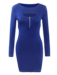 Women's Casual/Daily / Party/Cocktail Simple Bodycon DressSolid Round Neck Above Knee Long Sleeve
