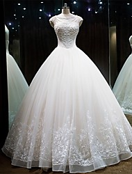 Princess Wedding Dress Lacy Look Floor-length Jewel Lace Tulle with Beading Lace
