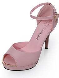Damen-High Heels-Kleid-Kunstleder-StöckelabsatzRosa Weiß
