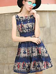 Women's Party/Cocktail Cute Sheath Dress,Print Crew Neck Above Knee Sleeveless Linen High Rise Inelastic Medium