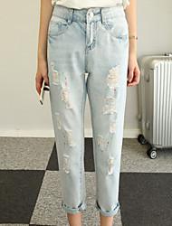 Women's Print Blue Jeans Pants,Simple