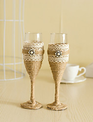 Wedding Accessories with Jute Pearl Sparkling Love Bride Groom Twisted Champagne Glasses Toasting Flutes, Set of 2