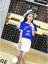 Damen Druck Einfach Lässig/Alltäglich T-shirt Rock,Rundhalsausschnitt Sommer Kurzarm Blau / Weiß Baumwolle Mittel