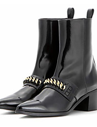 Women's Boots Fashion Genuine Leather Ankle Boots Pointed Toe with Chains Boots Shoes
