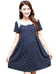 Maternity Doll Collar Polka Dot Stitching Short Sleeve Dress