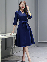 Women's Going out Street chic A Line Dress,Solid V Neck Knee-length ¾ Sleeve Blue Polyester Fall