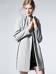 ARNE® Damen Rundhalsausschnitt Lange Ärmel Wolle & Blends Grau-D5014