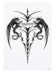 1pc Black Cavel Sheep Angle Dragon Wing Tattoo Picture Design Women Men Body Arm Art Temporary Tattoo Sticker HB-157