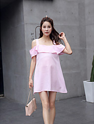 Maternity Going out Simple Loose Dress,Solid V Neck Above Knee Sleeveless Blue / Pink Polyester Summer