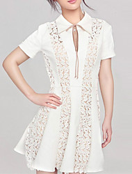 Boutique S Going out /Holiday Sexy/ Cute Sheath Dress,Solid / Jacquard Shirt Collar Above Knee Short Sleeve White
