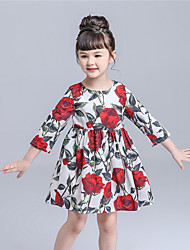 KIMOCAT  Girl's Casual/Daily Floral Dress,Cotton Summer / Spring Red