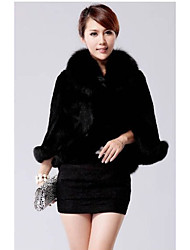 Women's Casual/Daily Simple Fur Coat,Solid Stand Long Sleeve Winter White / Black Faux Fur Thick