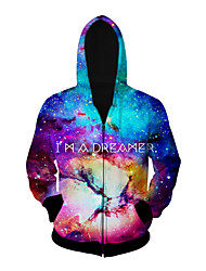 3D  Hoodie Long Sleeve Starry Sky Printing Clothing