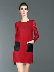 Boutique S  Casual/Daily Simple T Shirt Dress,Color Block Round Neck Above Knee Long Sleeve Red Cotton / Polyester