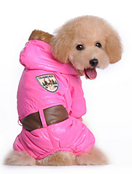 Dog Coat Blue / Pink Winter Floral / Botanical Keep Warm, Dog Clothes / Dog Clothing