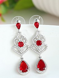 Drop Earrings Crystal Zircon Cubic Zirconia Copper Fashion Luxury Jewelry Crown Drop White Red Jewelry Daily Casual 1 pair