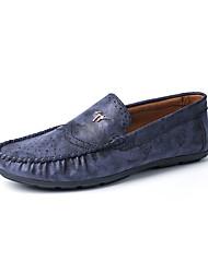 Herren-Flache Schuhe-Lässig-Leder-Flacher Absatz-Komfort-Blau Braun