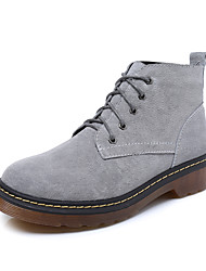 Women's Boots  Bootie / Round Toe / Closed Toe Casual Low Heel Lace-up Black / Blue / Yellow / Gray