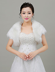Women's Wrap Shrugs Sleeveless Faux Fur White Wedding / Party/Evening Shawl Collar 33cm Feathers / fur Open Front