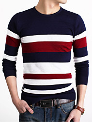 Men's Patchwork Casual Pullover,Polyester Long Sleeve Green / Orange / Red