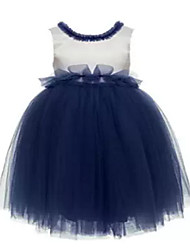 Ball Gown Tea-length Flower Girl Dress - Tulle Sleeveless Jewel with Bow(s) / Sash / Ribbon