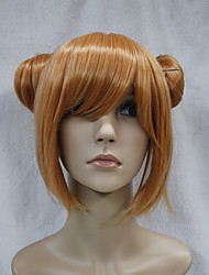Japanese synthetic hair  orange double bun anime cosplay costume girl wig