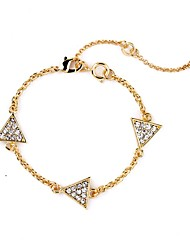 Bohemian Rhinestone Chain Bracelets Golden Triangle Bracelet Fashionable Geometric Alloy Jewellery