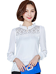 Spring/Fall Casual/Daily Women's Tops Solid Color Lace Stand Collar Long Sleeve Chiffon Blouse Shirt
