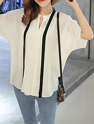 Women's Casual/Daily Simple Summer Blouse,Solid Crew Neck Short Sleeve Blue / White Acrylic Sheer