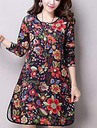Women's Casual/Daily Street chic Loose Thin Dress,Floral Above Knee Long Sleeve Blue / Red Cotton / Linen Fall