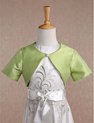 Kids' Wraps Shrugs Short Sleeve Taffeta Sage Wedding / Party/Evening Scoop Button Clasp