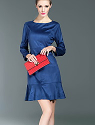 Boutique S Casual/Daily  Trumpet/Mermaid Dress,Solid Boat Neck Above Knee Long Sleeve Blue / Pink Cotton / Polyester