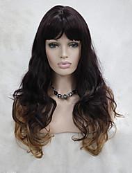моды баклажан фиолетовый клубника микс блондинка кожа топ вьющиеся волнистые длинные челки парик