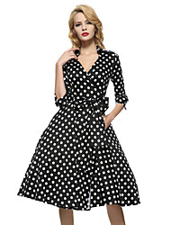 Robe Femme Vintage,Points Polka V Profond Col de Chemise Midi Manches ¾ Blanc Noir Coton Toutes les Saisons Micro-élastique Moyen