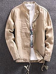 Winter Jacket Long Sleeve Cotton Linen