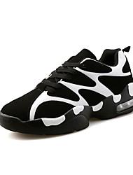 Masculino-TênisRasteiro-Branco Preto e Vermelho Preto e Branco-Couro Ecológico-Casual Para Esporte