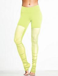 Pantalon de yoga Pantalon/Surpantalon Respirable Elastique Taille moyenne Extensible Vêtements de sportJaune Rose dragée Noir Bleu Violet
