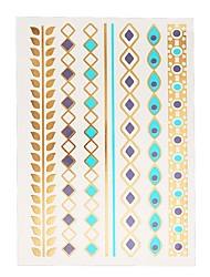 1pc Flash Gold Metallic Temporary Tattoo Jewelry Sticker Sexy Bracelet Stocking Chain Product J09