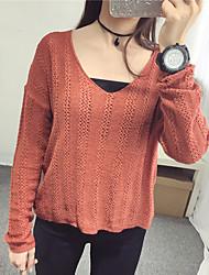 Damen Kurz Pullover-Lässig/Alltäglich Street Schick Solide Weiß / Braun V-Ausschnitt Langarm Polyester Herbst Dünn