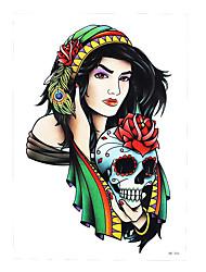 1pc Body Art Decal Tatoo for Men Beauty Prairie Women Girl Rose Flower Skull Design Temporary Tattoo Sticker HB-406