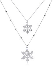 Xu Women 's Beautiful Snowflakes Joker Personality Leisure Glass Alloy Necklace